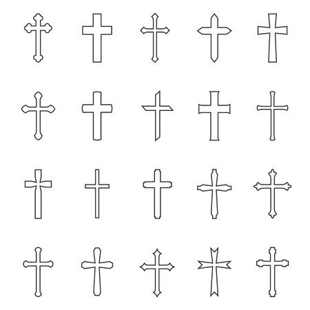 miraculous: Cross contour outline art set, geometrical figure, Christs crucifixion symbol, religious emblem. Vector flat style illustration isolated on white background