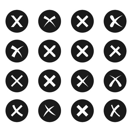 brusch: Cross signs, X on black icon set, brusch stroke web design element, wrong choice mark, negative answer. Vector flat style illustration isolated on white background