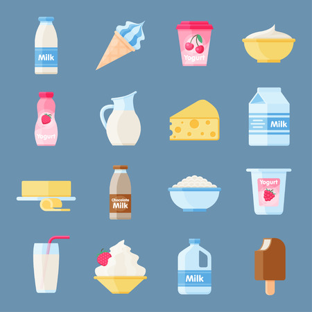 Dairy products or milk set, fresh, quality food, great taste and nutritional value. Vector flat style cartoon illustration isolated on blue background