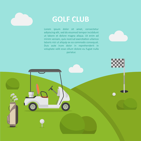 Golf club green field and cart, active sport, tournaments, rich entertainment, architecture and design of parkland-style course. Vector flat style cartoon illustration