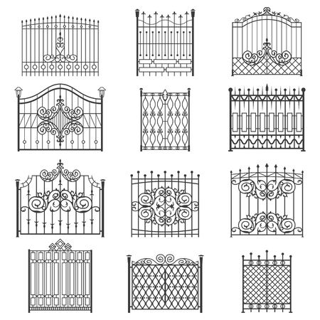 Iron gate line art set. Uniquely designed for private safe, friendly and welcoming house or garden. Vector flat style illustration isolated on white background Иллюстрация
