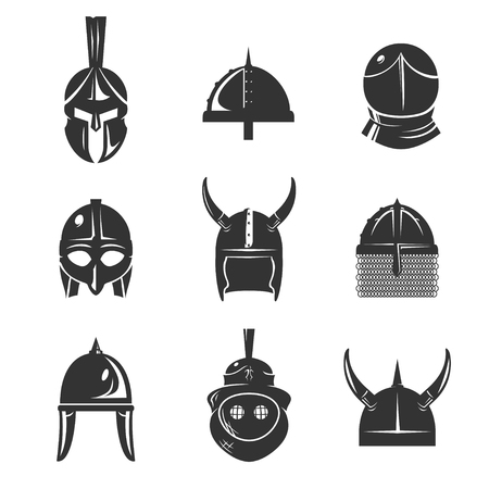 ancient roman: Warrior helmet icon set. Old conical shaped or horn ancient armour. Roman, Greek, Spartan Helmet, battle head protection. Vector flat style illustration isolated on white background