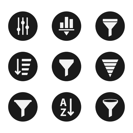 oil change: Filter objects icons industry set, service parts collection, technology emblems, checking instrument