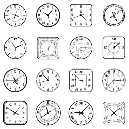 Face clock icon set. Wall object showing different time, biological instrument, classroom management. Vector flat style illustration isolated on white background