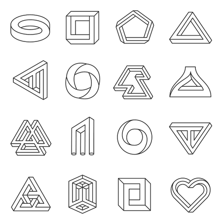 Impossible figures line art collection. Type of optical illusion, reality trick, fascinating objects of geometry. Vector flat style illustration isolated on white background Ilustração