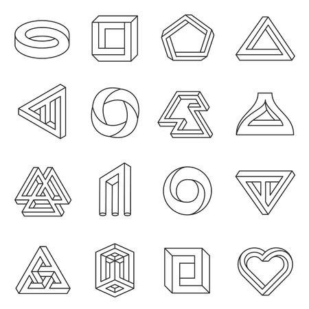 Onmogelijke cijfers lijn kunstcollectie. Soort optische illusie, realiteitstrik, fascinerende objecten van geometrie. Vector platte stijl illustratie geïsoleerd op een witte achtergrond