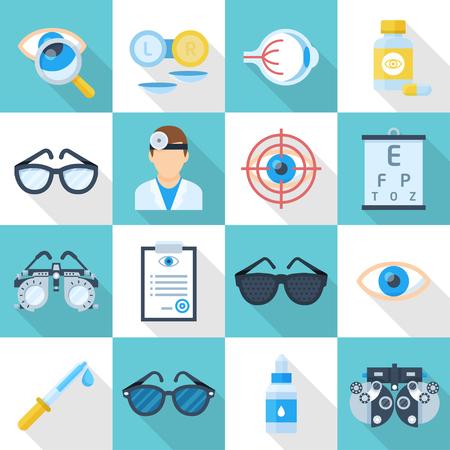 Oculist und Ophthalmologist Icon Set. Shop-Schild, professionelle medizinische Versorgung und Ausrüstung. Vector flache Stil Cartoon Illustration isoliert auf weißem und blauem Hintergrund
