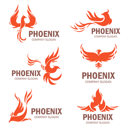 Phoenix company slogan set. Rising from the ashes bird, symbol and idea of strong business. Vector flat style illustration isolated on white background  イラスト・ベクター素材