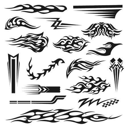 Vinyl art decoration stickers for cars, unique and handmade ornaments, accessory laptop, mug, binders, bike, planner. Vector flat style illustration isolated on white background Ilustrace