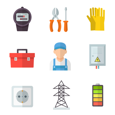 Electrician icon set. Training and technical services, a good job, manual profession and equipment images. Vector flat style cartoon illustration isolated on white background Vector Illustration