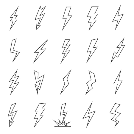 bolt: Lightning line flat graphic silhouette. Thunderstorm effect, sharp long strom image sketch. Vector flat style illustration isolated on white background Illustration