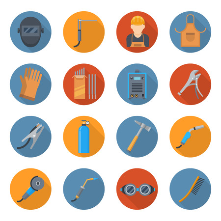 Welding industry cartoon icon set: Fusing materials together industry, accessories equipment vector flat style illustration, isolated on white background