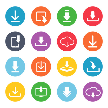 Download button icon set. Cute and fancy image for web users for computer data. Vector flat style illustration isolated on white background 向量圖像