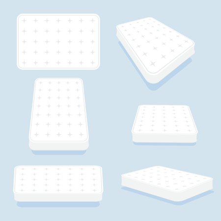 Mattress in all positions set. High-quality modern sprung latex, foam and soft bed for comfortable sleep. Vector illustration on light blue background  イラスト・ベクター素材