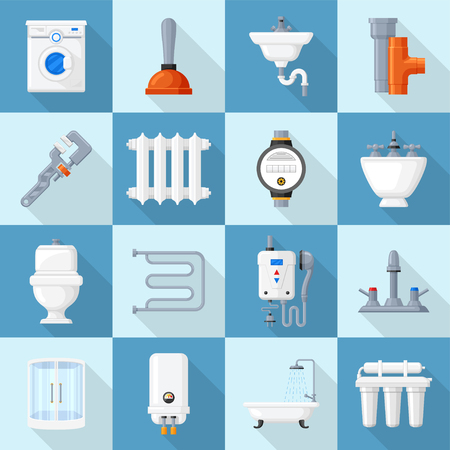Plumbing cartoon set. Supplies and fixtures, service for home bathroom faucets, kitchen sink. Vector flat style illustration isolated on white background