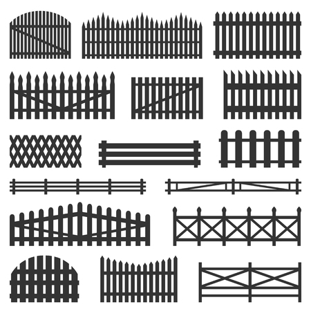 Rural fences wooden set. Constructed from posts, durability and a classical countryside look. Vector flat style illustration isolated on white background