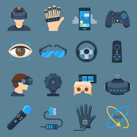 computer simulation: Virtual reality device set. VR technology gadgets for gaming and entertainment. Vector flat style cartoon illustration isolated on blue background