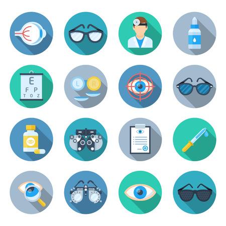 眼科のアイコンを設定します。クリニックのポスター、眼球と軌道解剖学教育のコレクションの病気。白い背景に分離されたベクトル フラット スタ