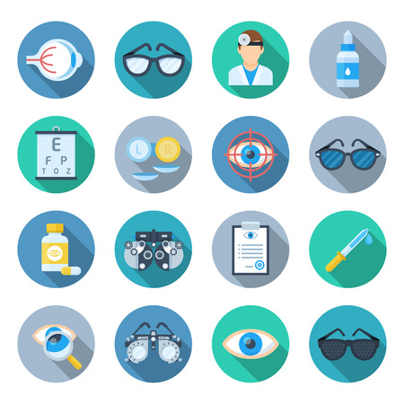 안과학 아이콘을 설정합니다. 클리닉 포스터, 안구 및 궤도의 질병, 해부학 교육 컬렉션. 흰색 배경에 고립 된 벡터 플랫 스타일 만화 일러스트 레이션