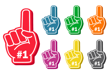 Foam finger set. Sports paraphernalia fun item in bright colors, competition support symbol. Vector flat style illustration isolated on white background