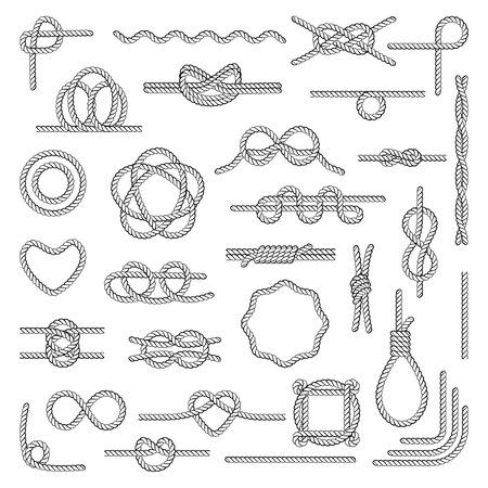 Nodi di corda nautica Uso del tableau da parte di navigatori, canoisti, esploratori, ricerca e soccorso, arboricoltori, alpinisti. Illustrazione di stile piano vettoriale isolato su sfondo bianco