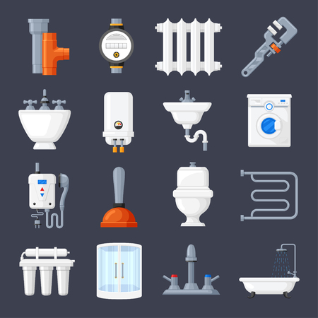modern bathroom: Plumbing and heating set. Technician works for industrial project, professional service. Vector flat style illustration isolated on dark blue background