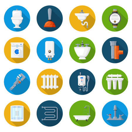 Plumbing icon set. Pipes, valves, plumbing fixtures, tanks, and apparatuses service. Vector flat style cartoon illustration, isolated, white background