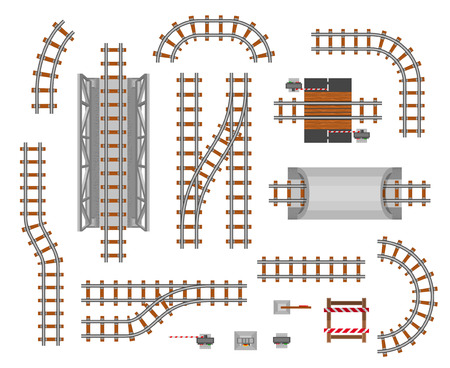 鉄道プラットフォームとワゴン。鉄道経路] セクションで、トラック、ビジネス方法視点の乗り継ぎ。白い背景に分離されたベクトル フラット スタ  イラスト・ベクター素材