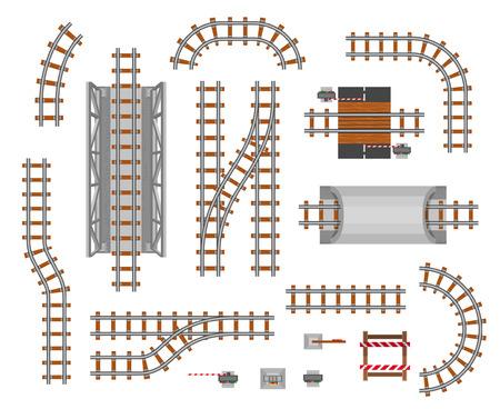 Plate-forme de chemin de fer et wagon. Section du chemin de fer, passage des passagers, perspective commerciale. Illustration de style plat vecteur isolé sur fond blanc Vecteurs