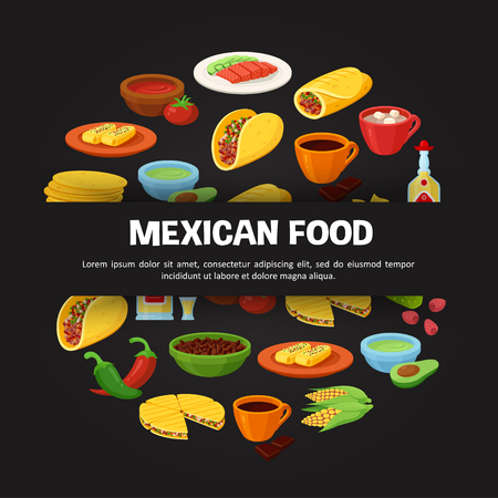 Mexican food. Large menu of delicious traditional dishes. Vector flat style cartoon illustration isolated on black background, template for restaurant serving authentic meal Çizim