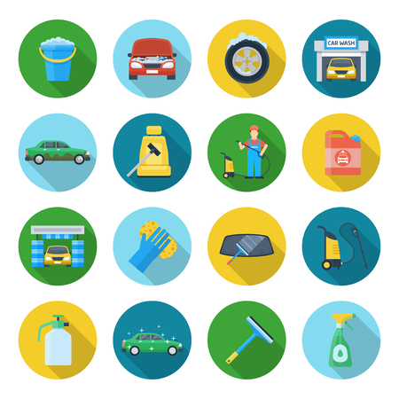 car wash: Car cleaning icons. Products and motoring essentials, waxing and protecting vehicle. Illustration