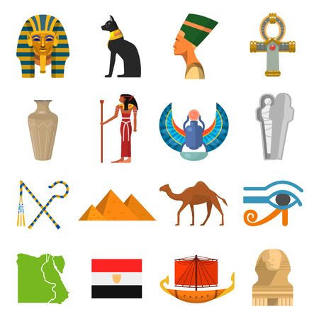 Egypt culture set. Ancient earliest civilization, history and mythology symbols. Vector flat style cartoon illustration isolated on white background Ilustrace