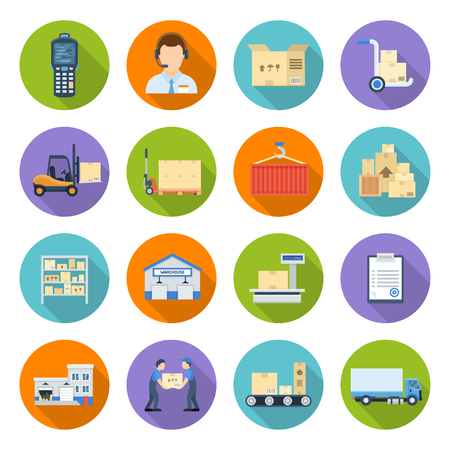 Warehousing and storage. Logistics operations within business, supply chain management, distribution establishing a global network. Vector flat style cartoon illustration isolated on white background  イラスト・ベクター素材
