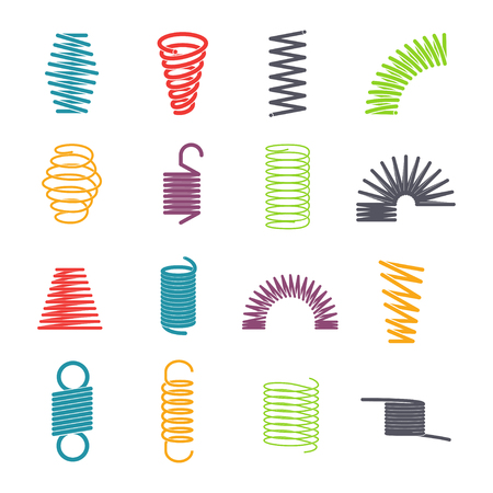 Metal spring set. Colorful round metal wire, elasticity and mechanical energy. Vector flat style cartoon illustration isolated on white background Çizim