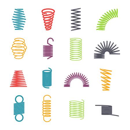 Zestaw sprężyn metalowych. Kolorowy okrągły metalowy drut, elastyczność i energia mechaniczna. Wektor ilustracja kreskówka płaski na białym tle