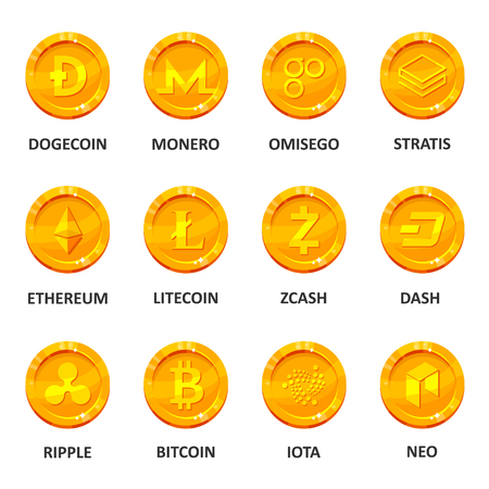 Cryptocurrency coin set. Digital or virtual currency, form of money uses cryptography for security, trading online. Vector flat style cartoon illustration isolated on white background