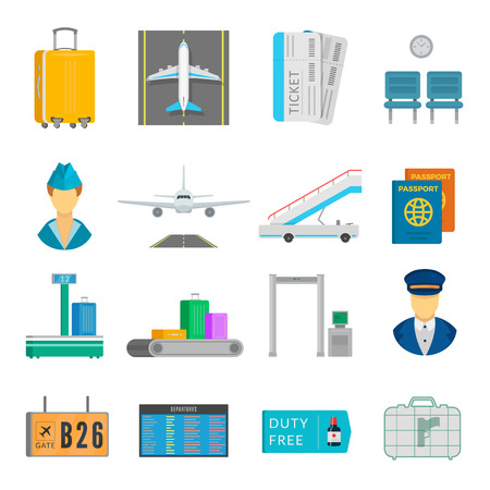 Airport service set. Passengers information for arrivals, departures and transfers. Vector flat style cartoon illustration isolated on white background Ilustrace