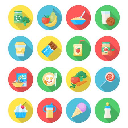 赤ちゃん食品アイコン。果物、野菜、甘い美味しい食事、健康的な自家製栄養健康的な食材。白い背景に分離されたベクトル フラット スタイル漫画