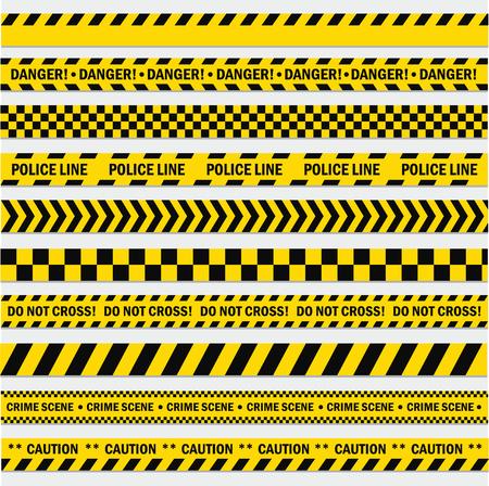 Strisce nere e gialle. Nastro per barricate, Non attraversare, polizia, linea di pericolo di crimine, nastro giallo brillante della barriera della scena del crimine. Vector l'illustrazione piana del fumetto di stile isolata su fondo bianco