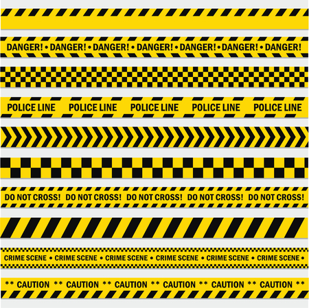 Black and yellow stripes. Barricade tape, Do not cross, police, crime danger line, bright yellow official crime scene barrier tape. Vector flat style cartoon illustration isolated on white background