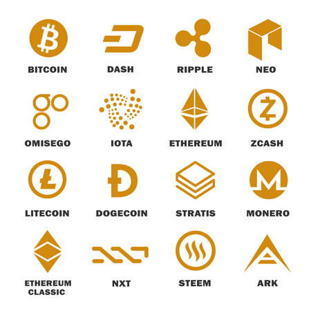 Cryptocurrencies logo set. Digital or virtual currency for social investment and financial system network. Vector flat style cartoon illustration isolated on white background