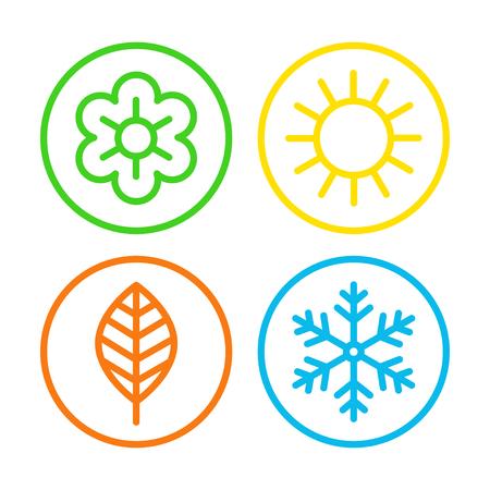 Four seasons icon set.