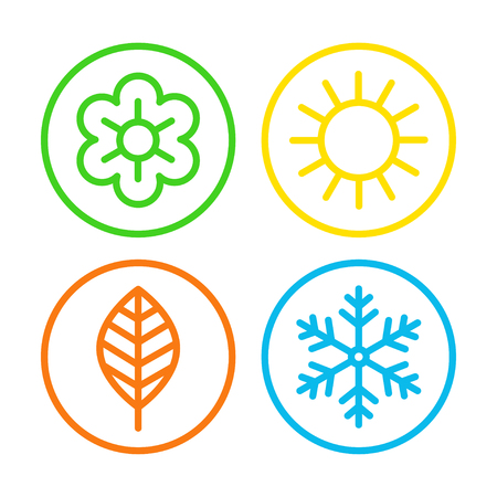 Zestaw ikon cztery pory roku.