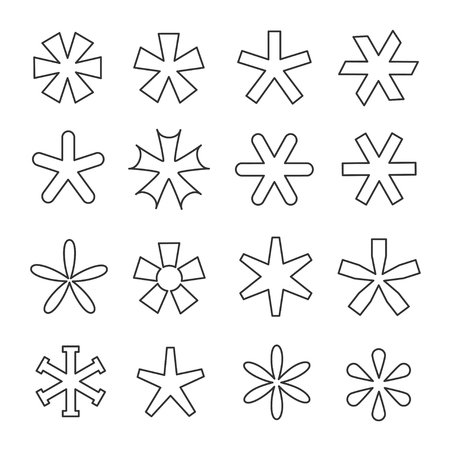 Asterisk line icon set. Printing, writing reference mark, an indication symbol, pointer to an annotation or footnote. Vector line art illustration isolated on white background