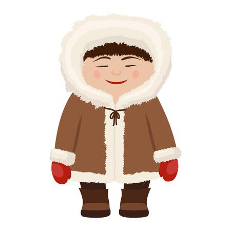 Hombre esquimal en abrigo de pieles de nieve tradicional. La gente habitó Siberia, Alaska, la región del norte. Ilustración de dibujos animados de estilo plano de vector aislado sobre fondo blanco