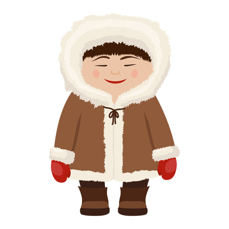 Eskimo man in traditional snow fur coat. People inhabited Siberia, Alaska, the northern region. Vector flat style cartoon illustration isolated on white background
