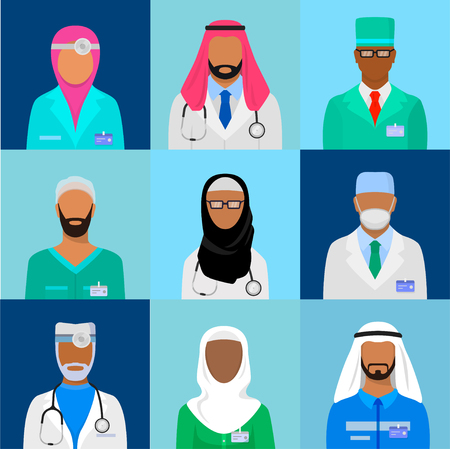 Muslim doctor set. Islamic medicine and healthcare qualified worker in uniform. Vector flat style cartoon illustration isolated on blue background