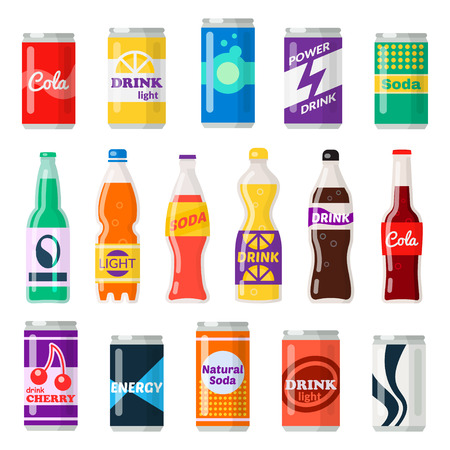 Soft drink bottles Vector flat style cartoon illustration Ilustrace