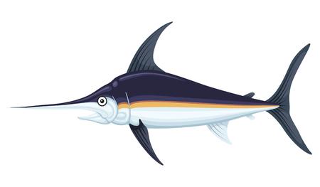 Grote zwaardvis Vector vlakke stijl cartoon afbeelding