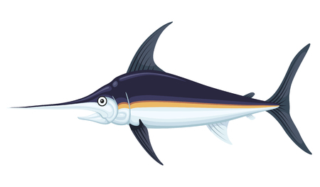 Large swordfish Vector flat style cartoon illustration